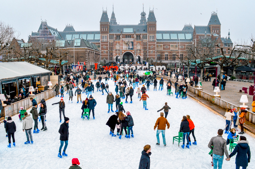 Ice Skating Rink at Museumplein in Amsterdam
