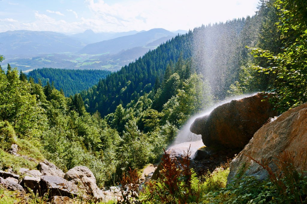 The view from the Schleier waterfall in Tirol