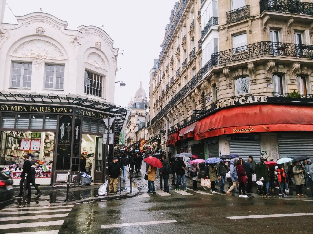 Street view of Montmartre in Paris