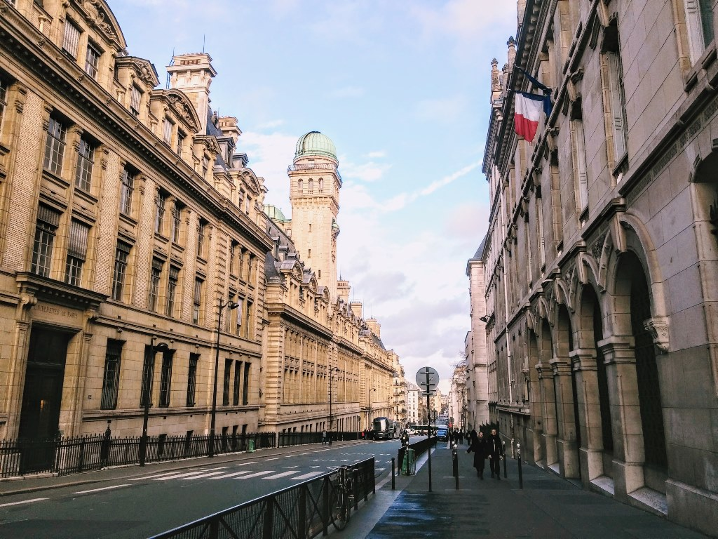 University of Sorbonne in Paris, street view.