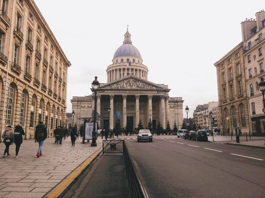 Street view of the Pantheon in Paris