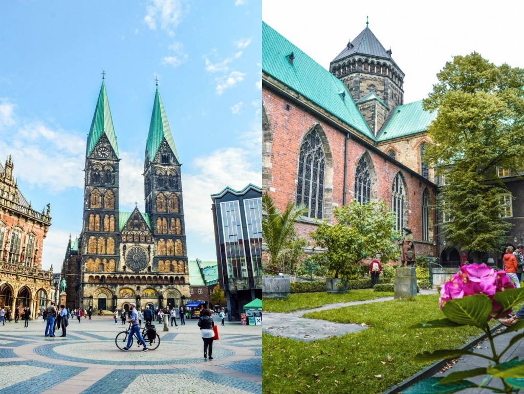 Photos of the Bremen Cathedral and Bible Garden.