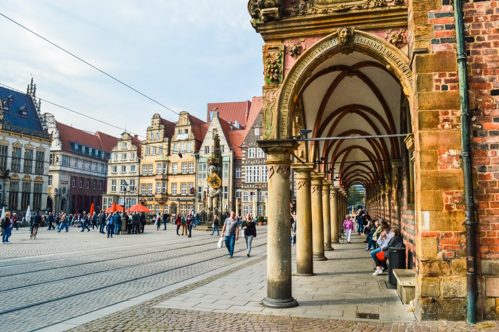 The main square (Marktplatz) in Bremen.