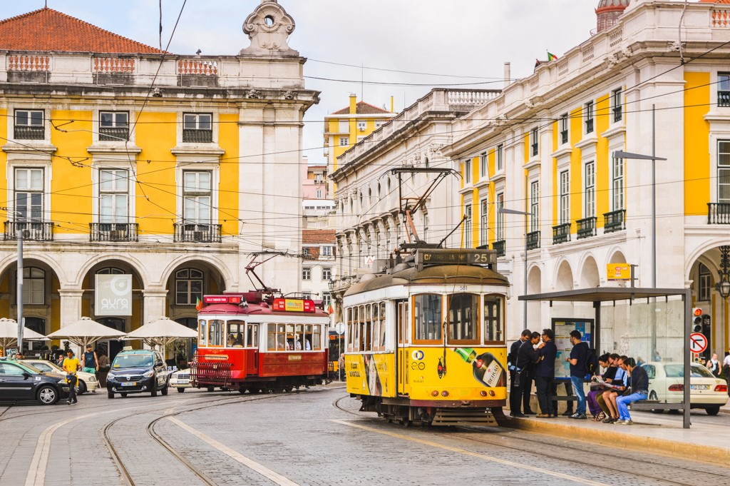 Trams in central Lisbon