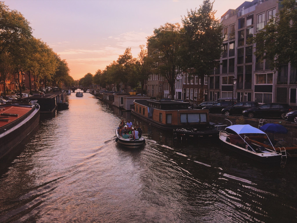A warm summer sunset on the canals of Amsterdam