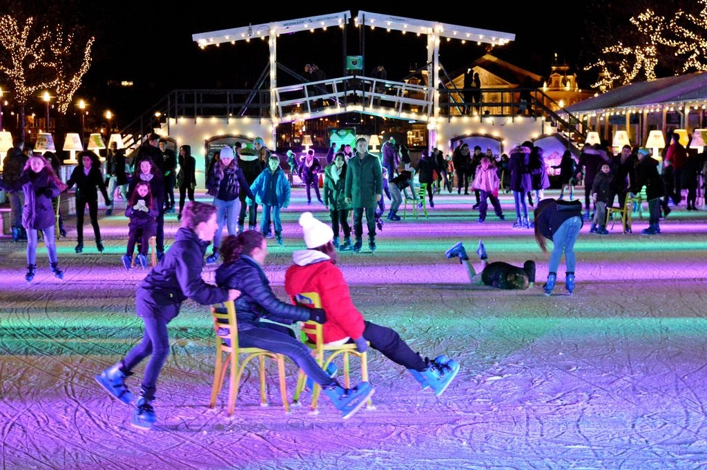 Ice skating at night in Amsterdam