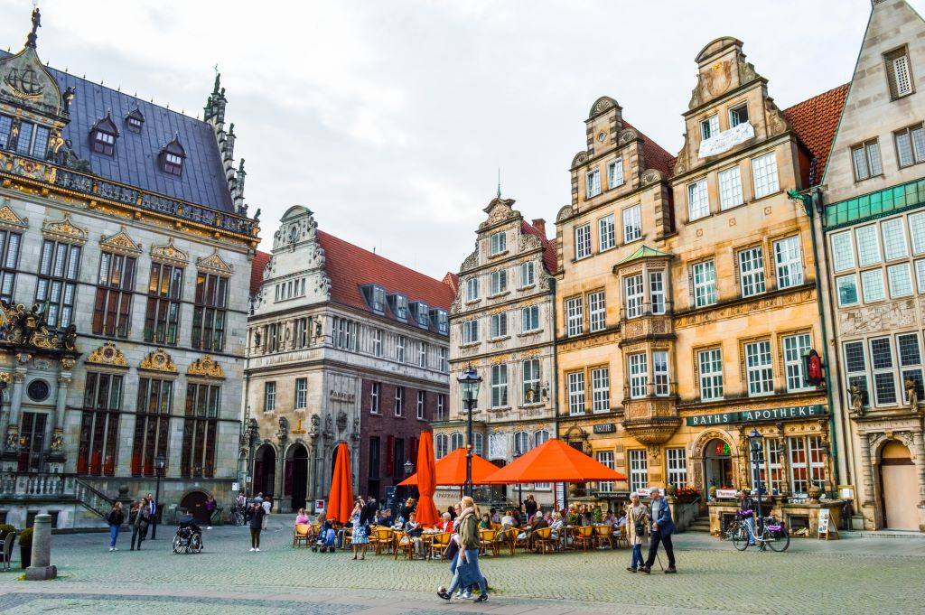 The main square in Bremen, the Marktplatz.