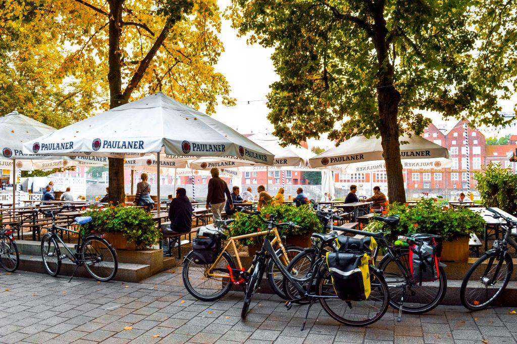 One of the beer gardens at the Schlachte Weserpromenade in Bremen.