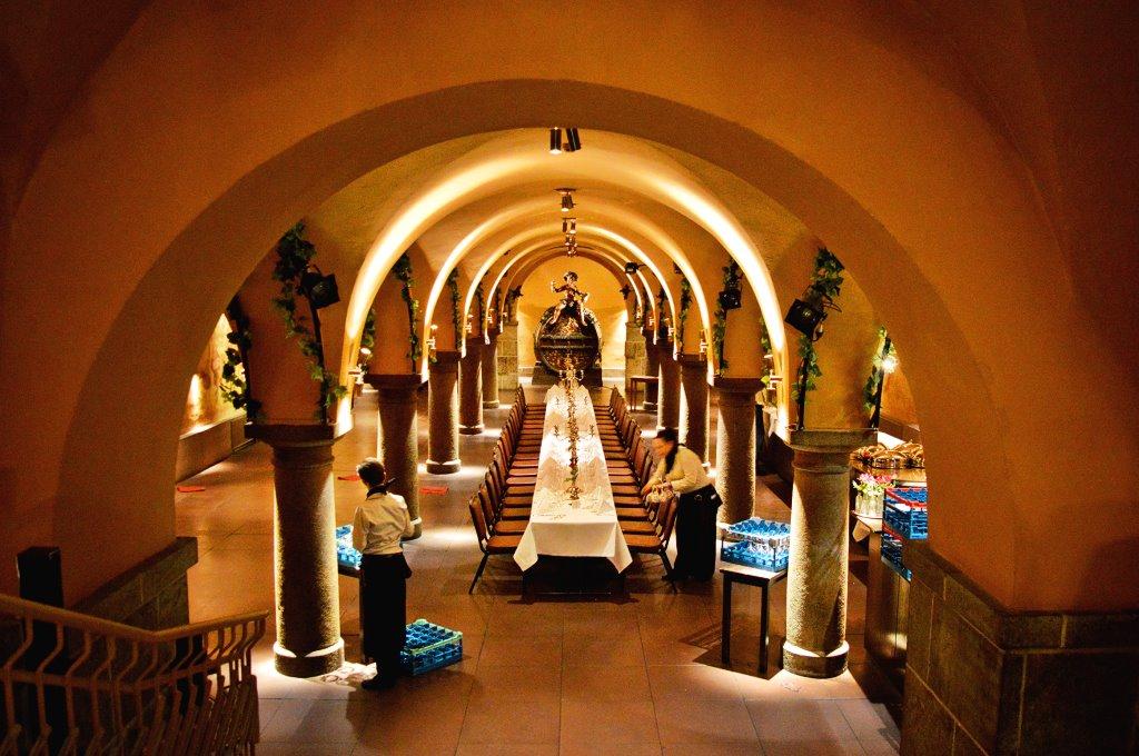 Inside the Bremen Ratskeller, an underground gourmet restaurant.