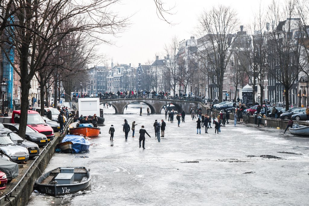 Ice skating on the canals in Amsterdam
