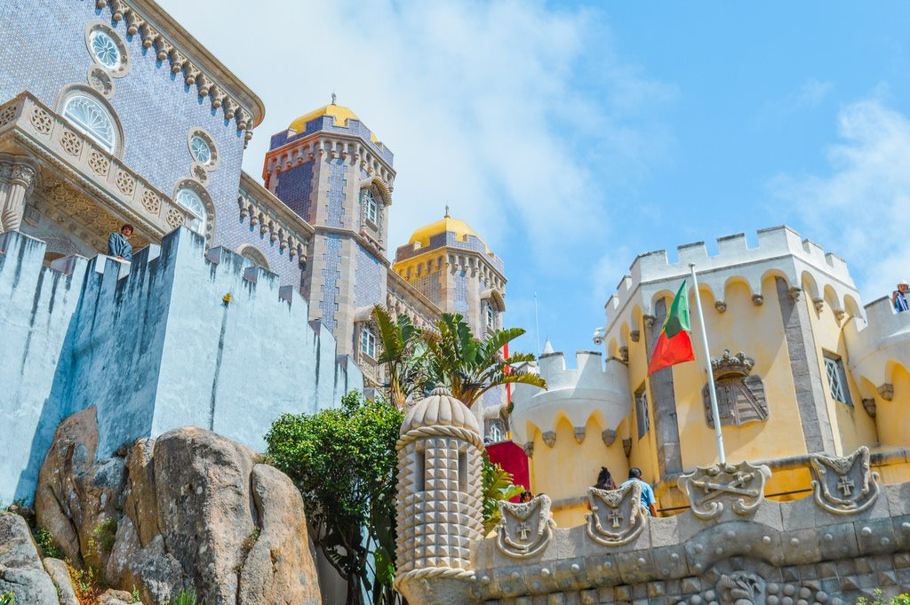 Pena Palace in the Lisbon District, painted blue and yellow.