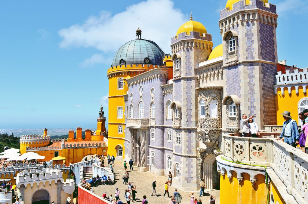 A view of the Pena Palace in Sintra on a sunny day