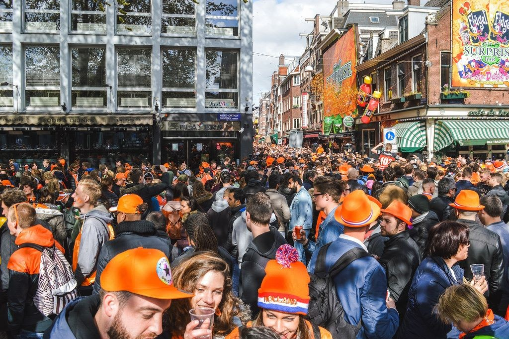 Crowds on King's Day in Amsterdam