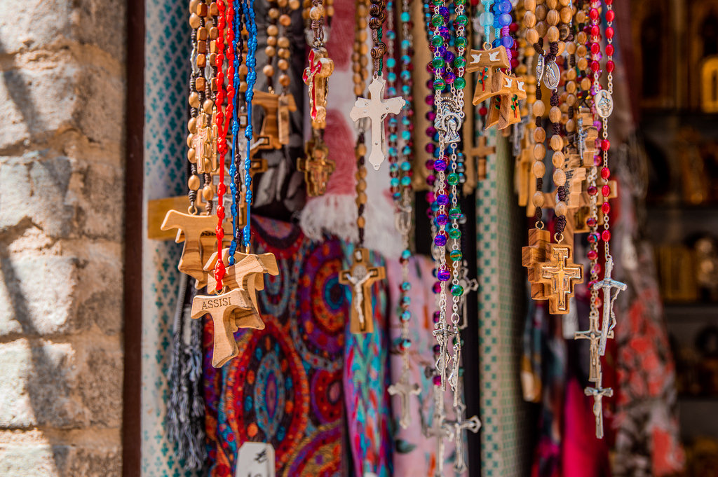 Religious souvenirs in Assisi, Umbria.