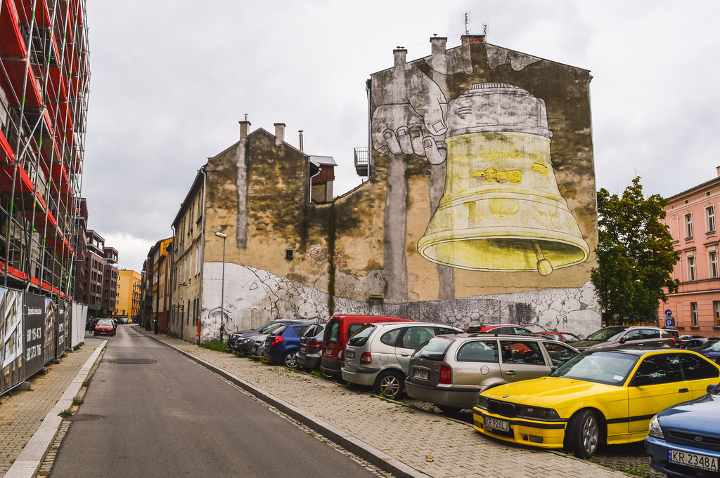 Street art in Krakau, in the Podgorze district.