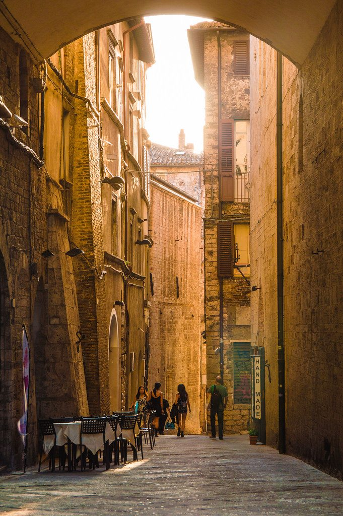 Sunset in the streets of Perugia
