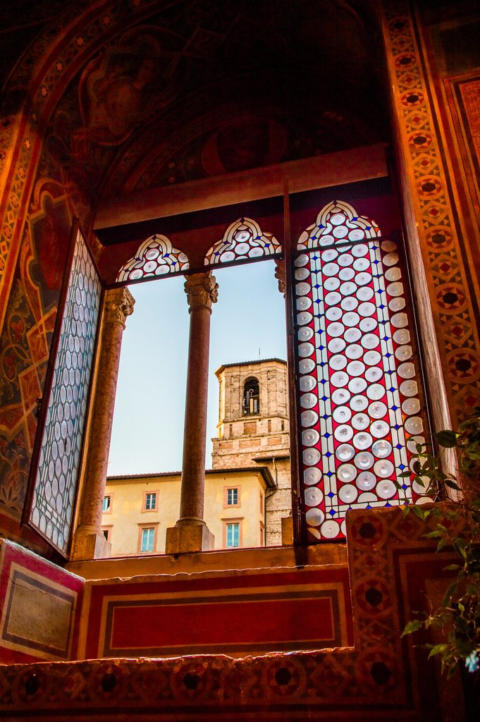 A window in the Palazzo dei Priori in Perugia