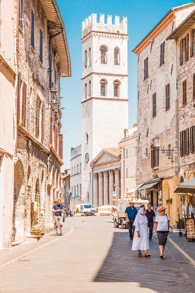 A historic street in Assisi, Umbria.
