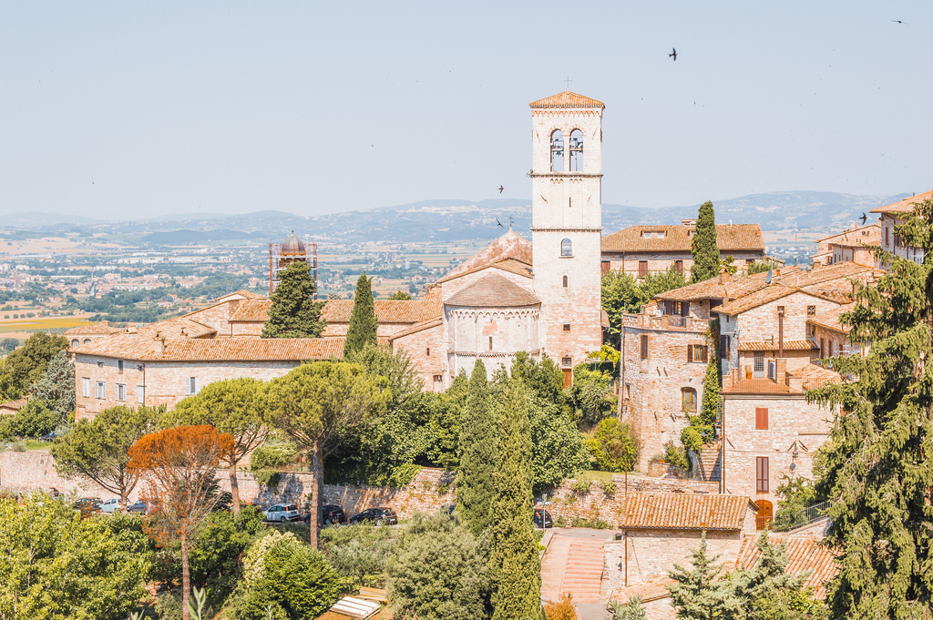 A cityscape view of the town of Assisi in Umbria.