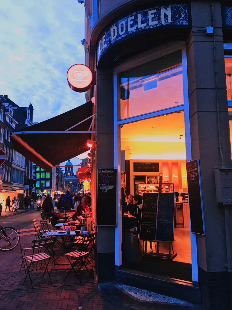 A cafe in Amsterdam in the evening