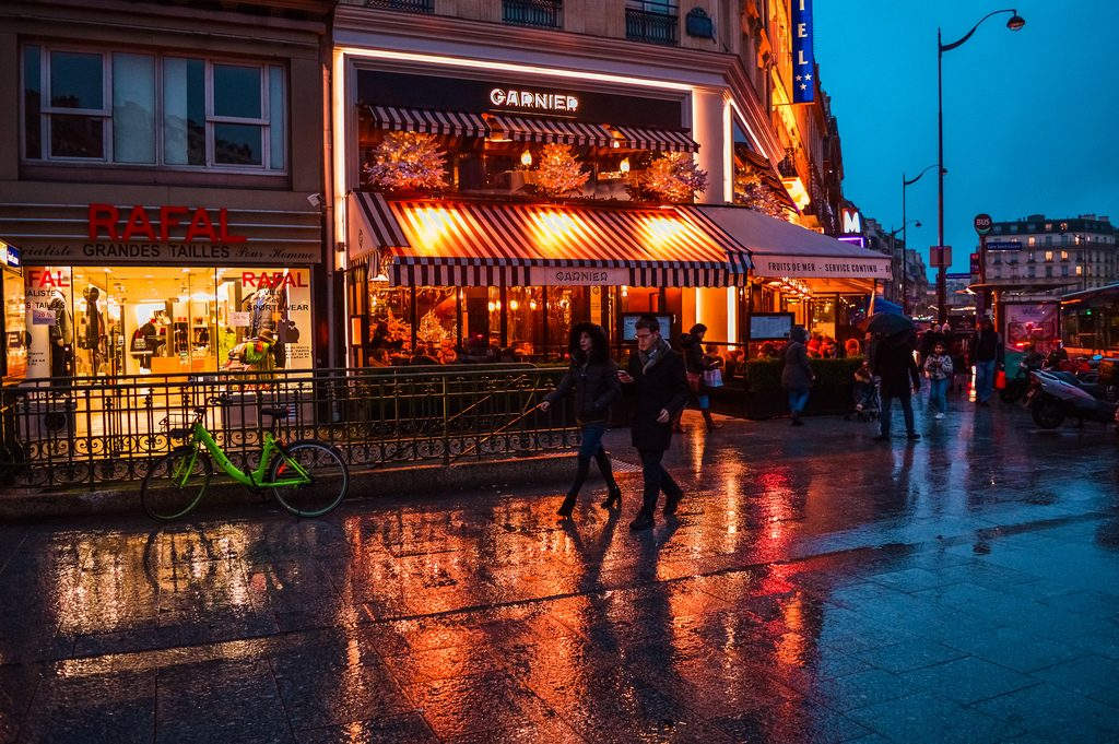 The streets of Paris on a rainy winter evening