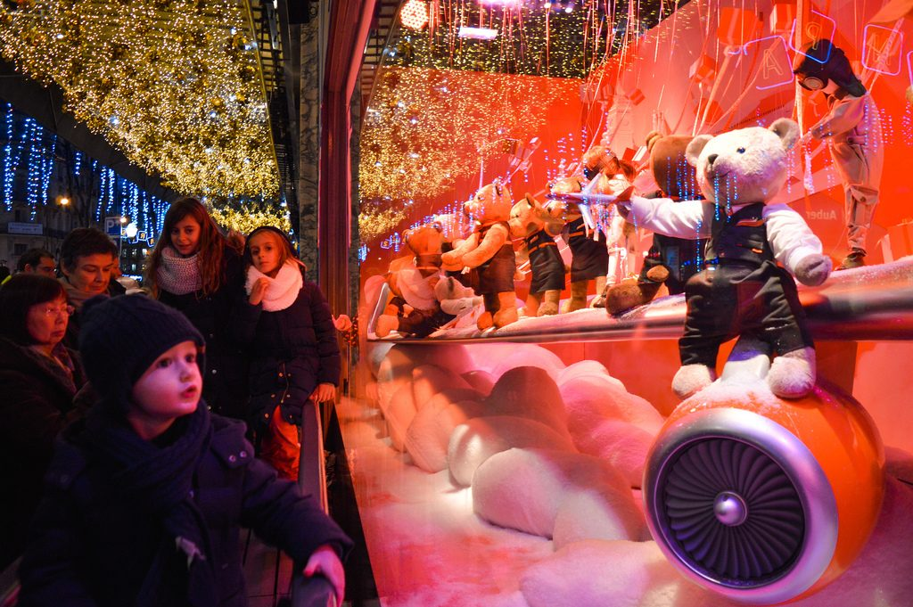 Window display at Galeries Lafayette in December