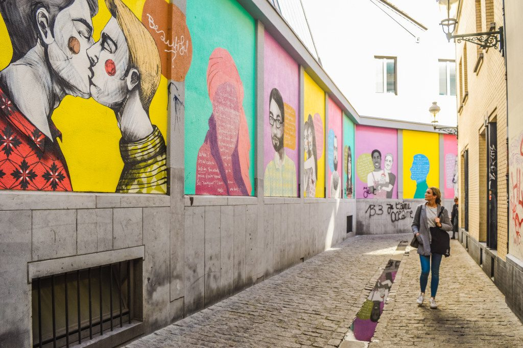 Best street art in Brussels: murals in the Rainbow Quarter in Brussels