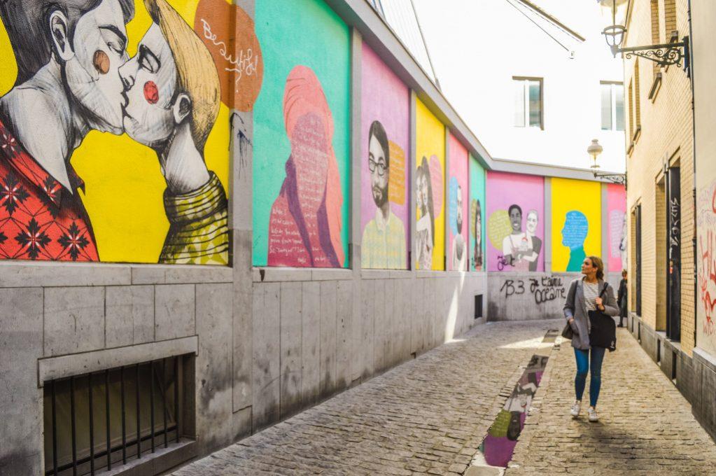 Best street art in Brussels: murals in the Rainbow Quarter in Brussels