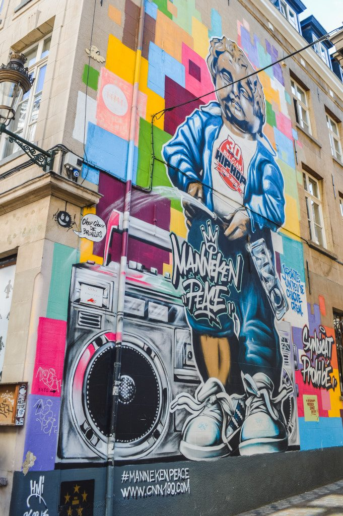 Manneken Pis street art in Brussels