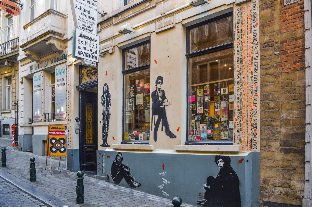 Music store with murals in Brussels