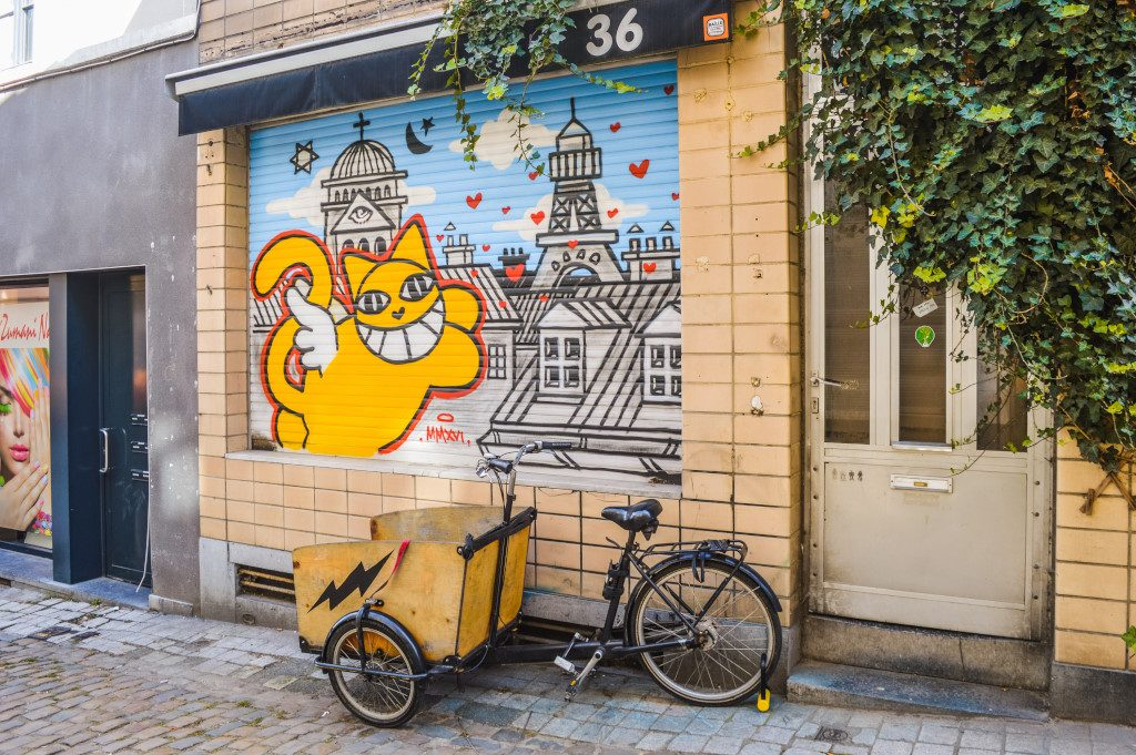 Street art and a bicycle in Brussels