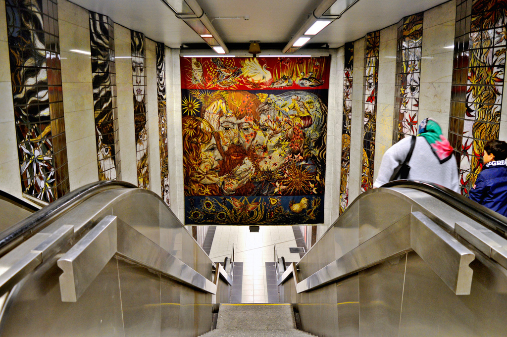 Metro station art in Brussels