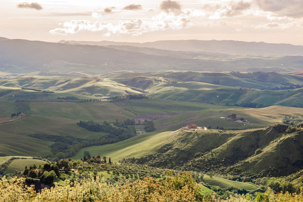 The sun shines its golden rays across the green rolling hills in Tuscany.