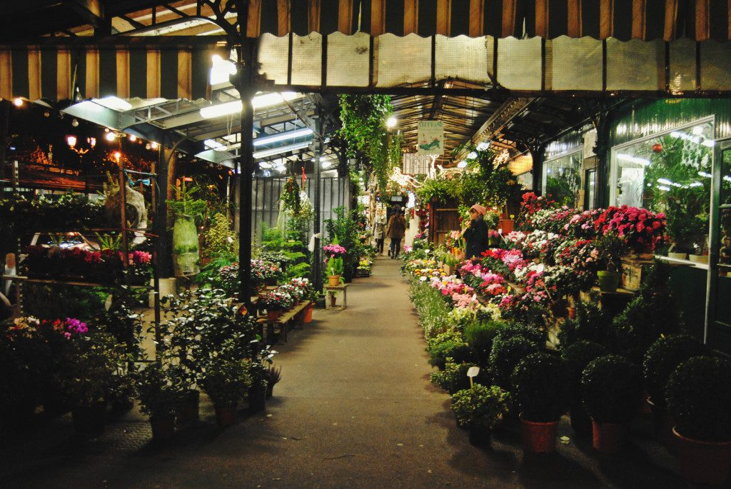 Flower stands in Paris by night