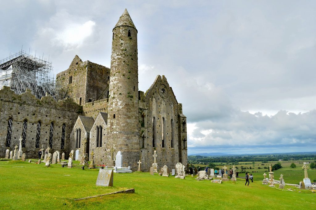 Rock of Cashel in Ireland and its graveyard
