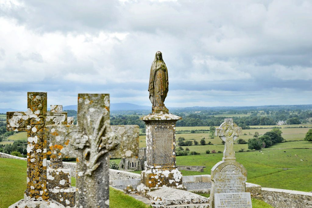 Rock of Cashel graveyard, statue of Mary.