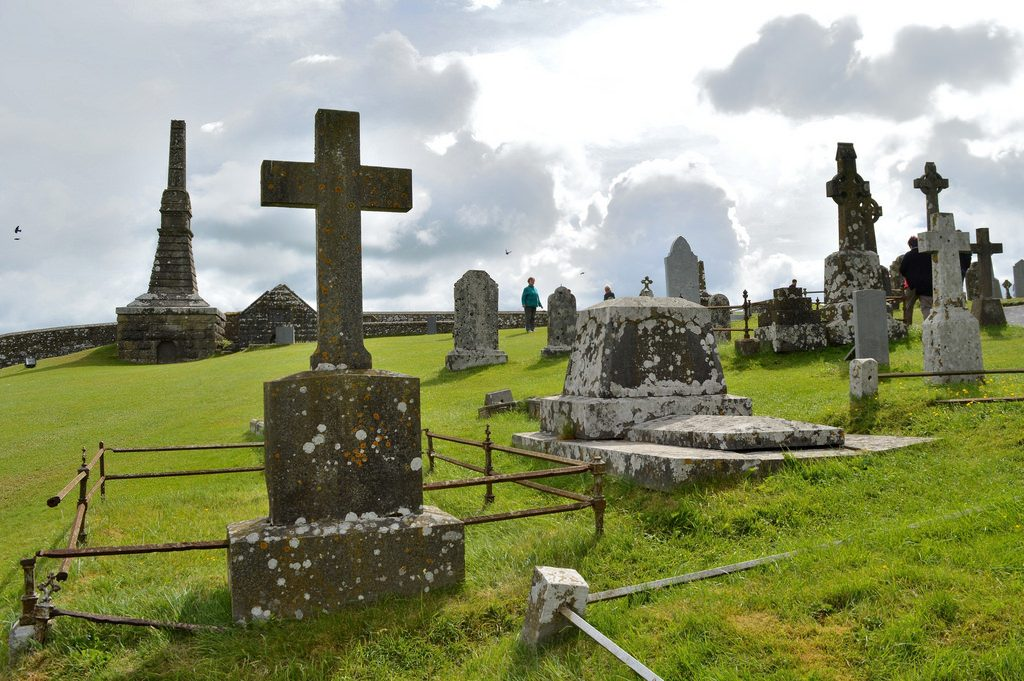 Rock of Cashel graveyard with stone crosses