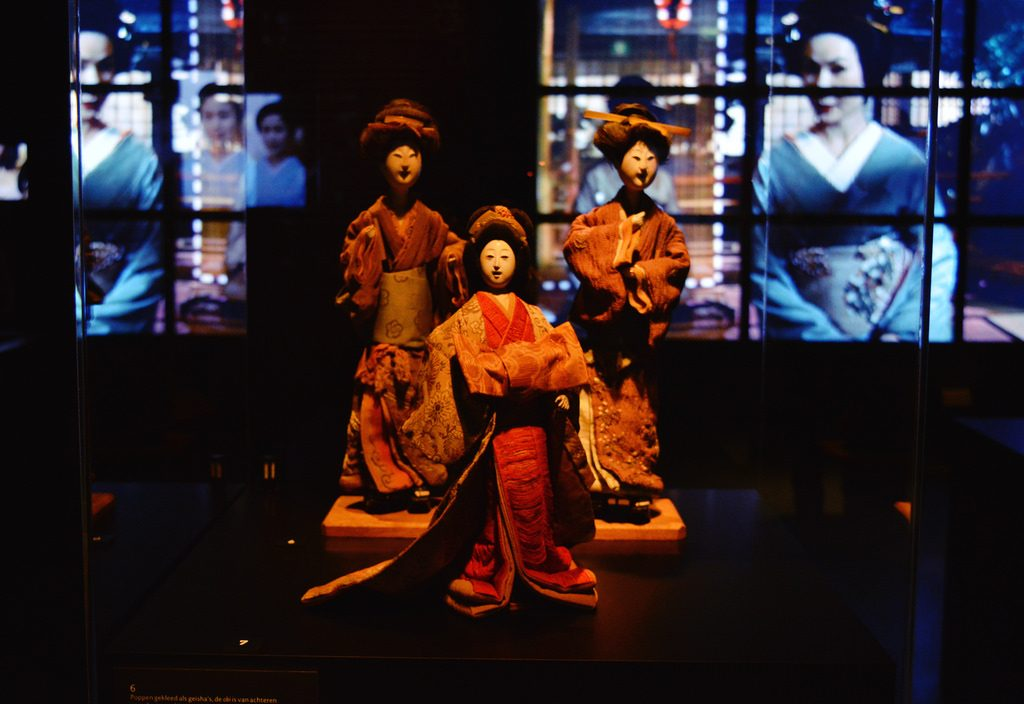 Vintage dolls on display at Geisha Exhibition in Leiden
