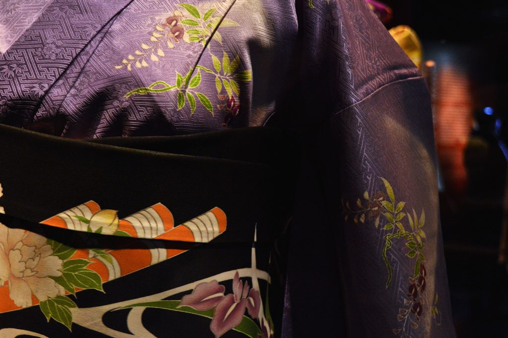 Kimono and obi details up close