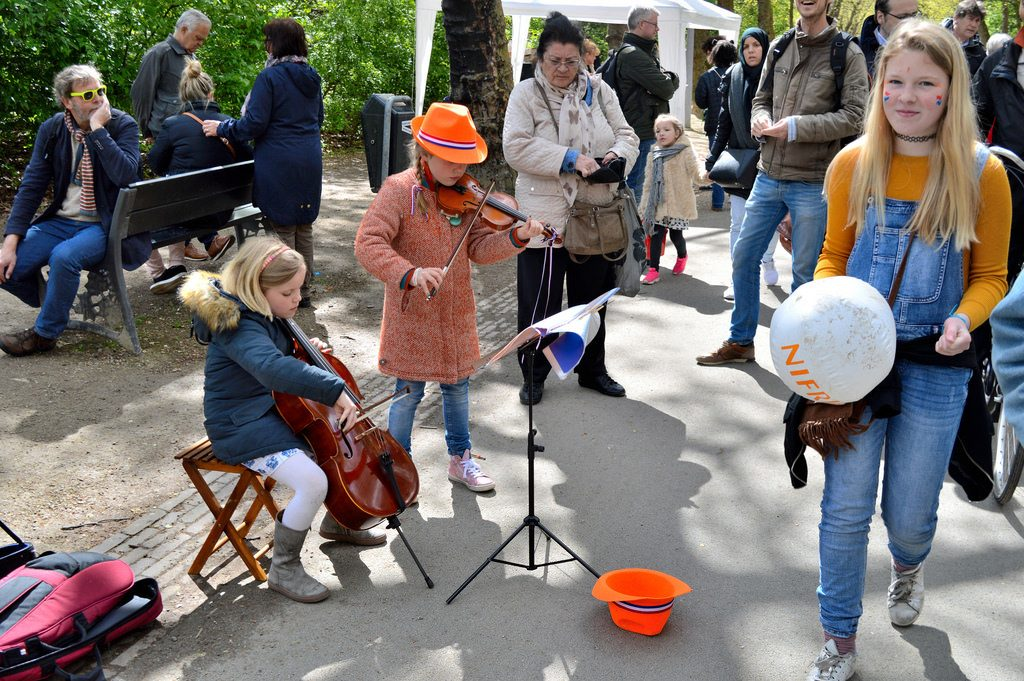King's Day in Vondelpark (children playing music instruments to earn a bit of money)