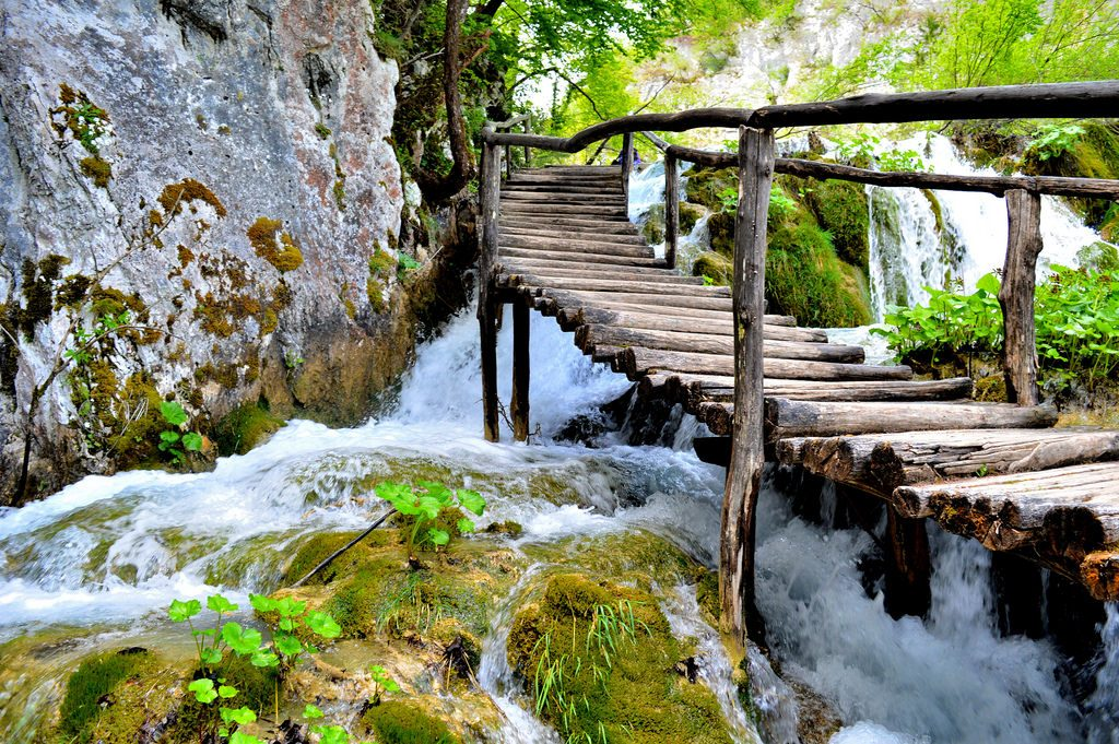 Wooden boardwalk in Plitvice Lakes National Park