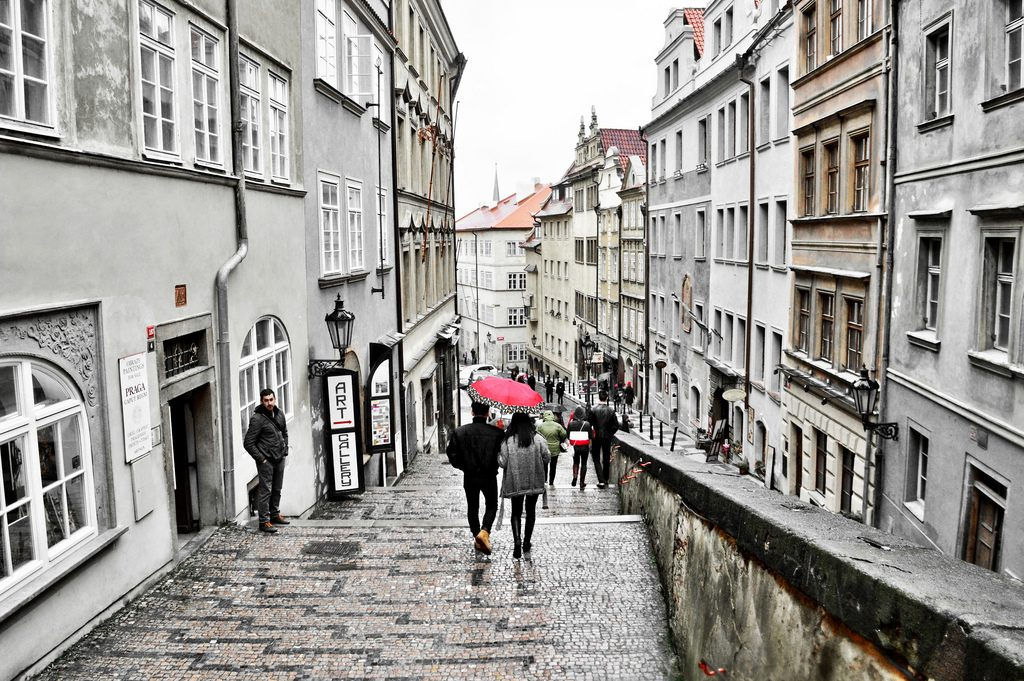 Rainy day in historic Prague