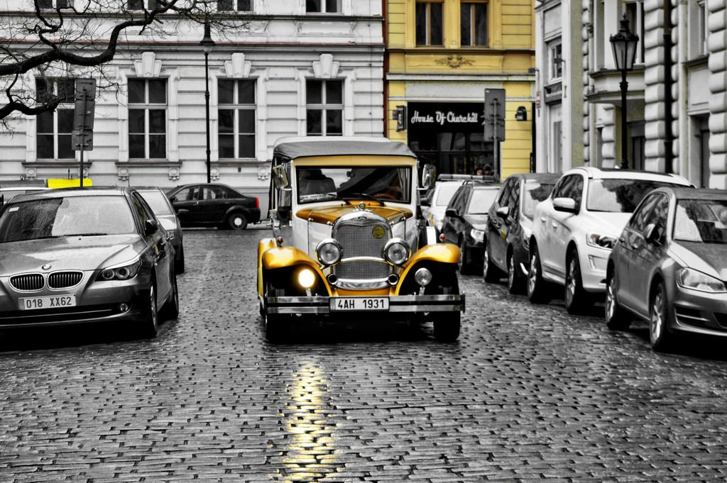 An old-timer (historic car) on the streets of Prague