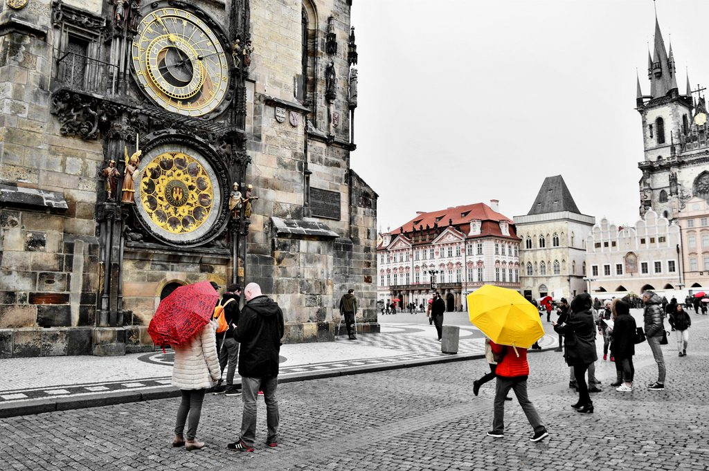 The clock tower in Prague on a rainy day