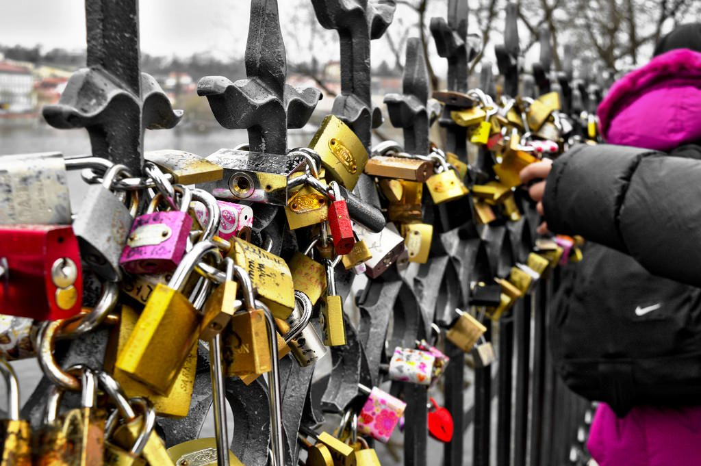 Locks on a bridge in Prague