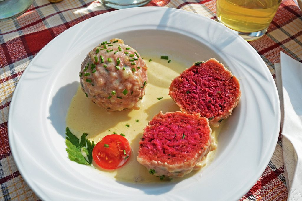 Pink beetroot knödels in South Tyrol