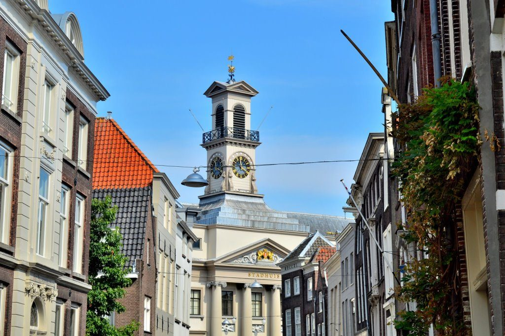 Street view in the historic town center of Dordrecht, oldest city in Holland