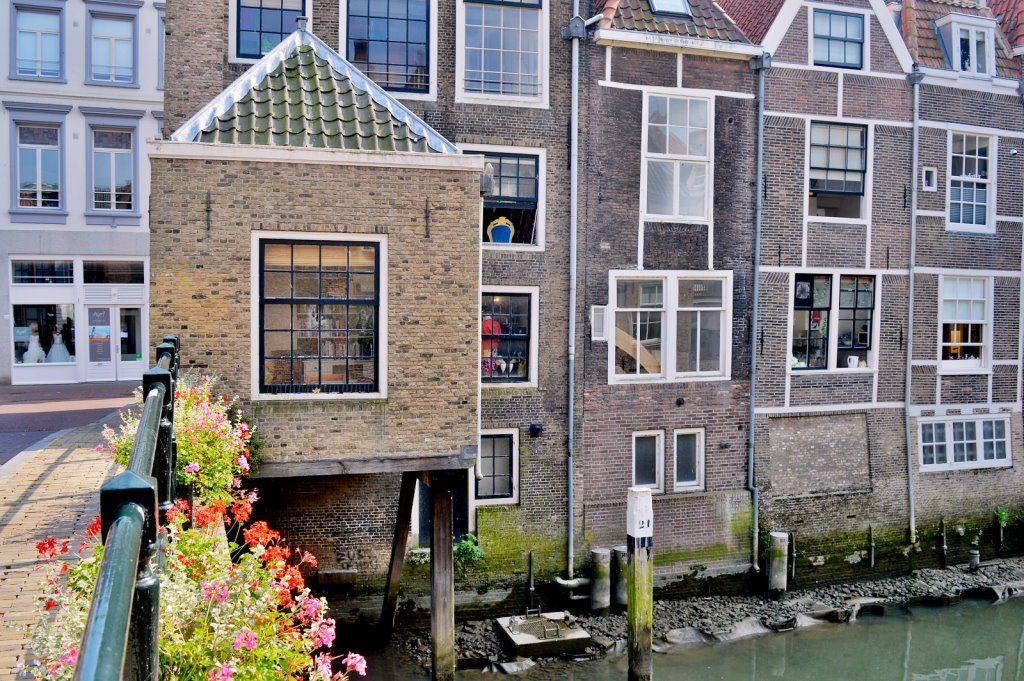 Historic street next to a canal in Dordrecht