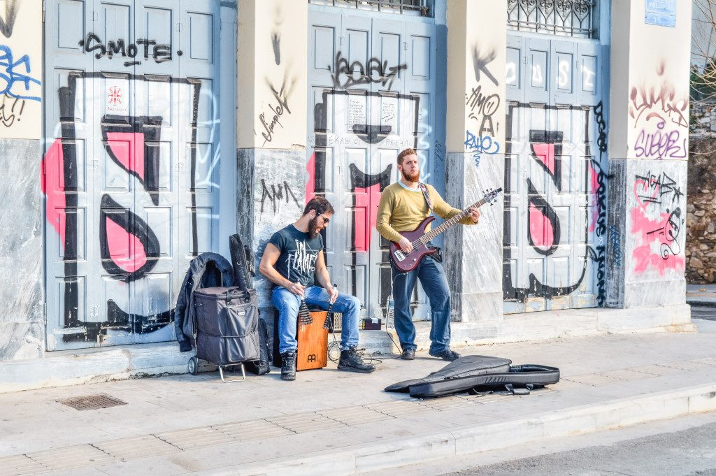 Two street musicians in Athens, Greece