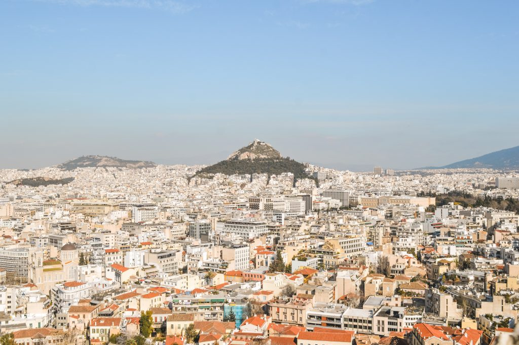 View from the Acropolis of the city and Lycabettus Hill